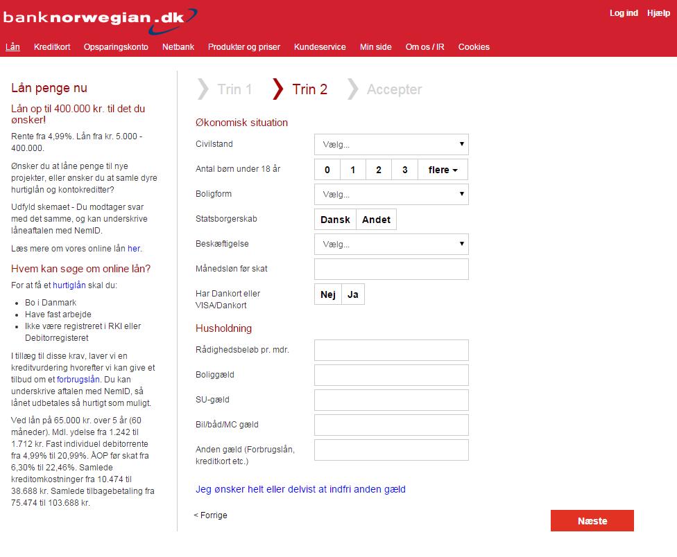 anmeldelse af bank norwegian lån